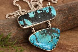 large turquoise pendant necklace artisan silver jewelry at astudio1980 com