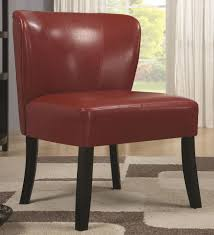 armless leather chairs. Red Velvel Armless Leather Accent Chair With Oak Wooden Leg For Small Living Room Spaces Ideas Chairs