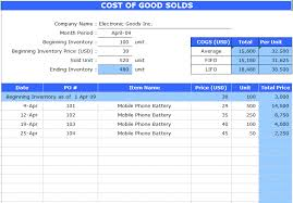 accounting excel template cost of goods sold sheet template microsoft excel templates
