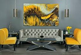 yellow and grey furniture. refined living room in grey shades looks bolder with yellow chairs and a painting furniture l
