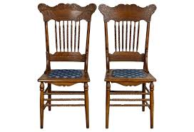 oak pressed back chairs pair oak pressed back chairs pair omero home