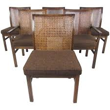 set of six mid century modern cane back dining chairs by lane at 1stdibs