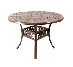 round cast aluminium leaf design table