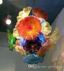 murano blown glass flower chandelier art decor dale chihuly style hand blown glass chandelier lighting art decorative led pendant lighting vintage pendant