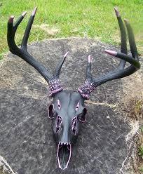 hand painted european deer skull mount w antlers black pink ships free