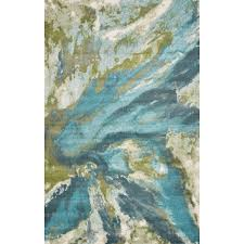 kas rugs watercolors teal 6 ft x 9 ft abstract area rug