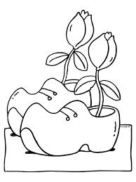 Kleurplaat Klomen En Tulpen Uit Holland Kleurplatennl