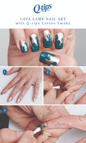 This groovy nail art design from celebrity manicurist Kimmie Kyees is way  easier than it looks. Start with a gold base then dip a Q-tips cotton swab  in a ...