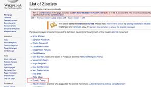 wikipedia article template donald trump a zionist for one month wikipedia claimed he was