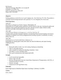 Truck Driver Resume Objective Sample Truck Drivers Ee F A E D C Fd