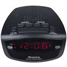 westclox 80209 am fm dual alarm clock radio with digital tuning in black