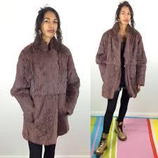 winter wedding amazing vintage medium length coney fur coat purple brown genuine fur jacket