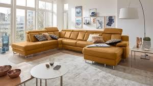 Interliving Sofa Serie 4050 Wohnlandschaft Kurkumafarbenes Longlife Leder Cloudy Chromfüße Stellfläche Ca 261 X 3