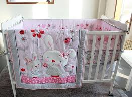 8pcs cotton crib bedding set pink cartoon rabbit newborn baby bedding pers quilt fitted sheet bed