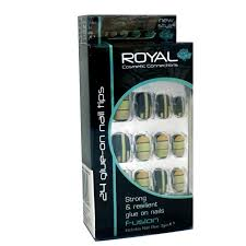 Royal Umělé Nehty Nalepovací S Tvary Fusion False Nails 24ks A Lepidlo 3g