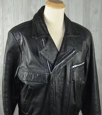 vintage open road men s leather black motorcycle jacket zip out lining 40