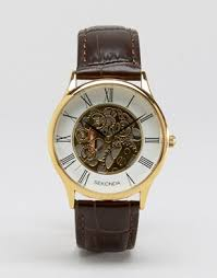 mens leather watches classic watches asos sekonda exposed mechanical skeleton croc leather watch in brown gold dial exclusive to asos