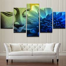 china modern wall art canvas hd prints landscape oil painting frame modular poster 5 panel buddha lotus buddhism decor pictures china canvas painting