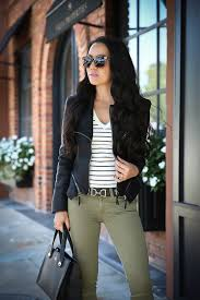 fall outfit faux leather jacket olive jeans leopard pumps