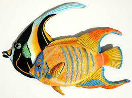 tropical fish wall hanging hand painted metal art
