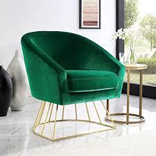 adalene green velvet accent chair gold metal base barrel shaped back upholstered