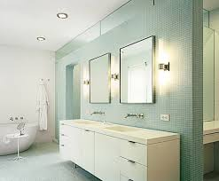 fascinating bathroom light brushed nickel and twin mirrors with white vanity cabinet