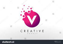 V Letter Design Dots Letter V Logo V Letter Stock Vector Royalty Free