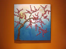 turquoise cherry blossom tree painting super three dimensional branches and flowers 3d wall art by artist nathalie van