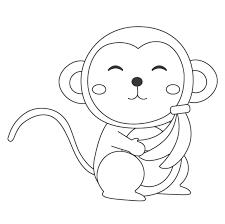 無料のかわいいサル猿のぬりえ ぬりえパーク