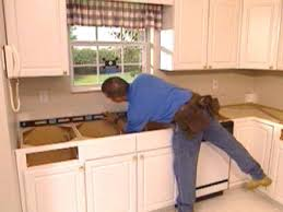 use spirit level to check walls and counter