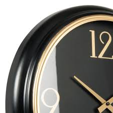 black and gold clock d42cm branson