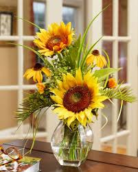 Decor Cheerful Sunflower Arrangements For Fresh Home Decor