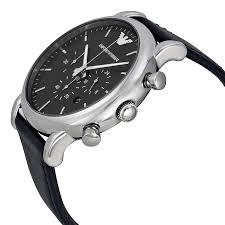 emporio armani chronograph black dial matte black leather mens emporio armani