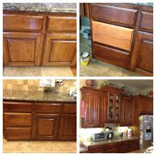 Restain Oak Kitchen Cabinets Stunning Before And After Of Oak Cabinets Lightly Sanded And Then Used Gel