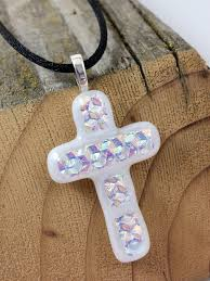 fused glass cross pendant dichroic glass cross necklace with black cord