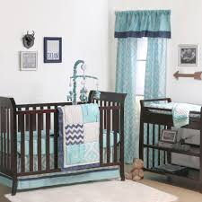 the peanut shell 4 piece baby crib bedding set turquoise gray and navy blue patchwork 100 cotton quilt dust ruffle fitted sheet and mobile