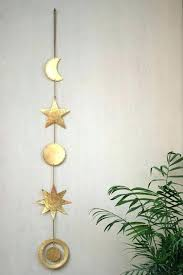 sun shaped wall mirror brown celestial moon and stars hanging decor mexican