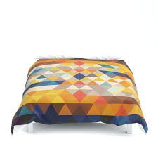orange and blue duvet cover geometric triangle ethnic inspired pattern orange blue duvet cover orange blue