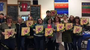 creatrix realms wine and paint party in eugene oregon stargazer lily at the wine lab
