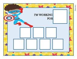 Token Reward System Chart African American Boy Superhero Token Economy Positive Reinforcement Reward Chart