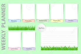 Seasonal Weekly Planner On The Light Green Background With Spring