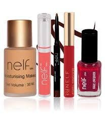 nelf usa makeup kit foundation lip gloss eyeliner sindoor nail polish pack of 5 nelf usa makeup kit foundation lip gloss eyeliner sindoor
