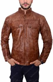 mens brown leather biker jacket