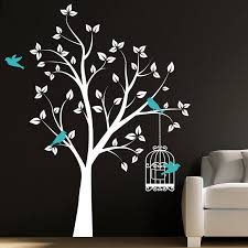 23 wall decals tree with birds tree branch with 10 birds wall decal deco art sticker mural in dark mcnettimages com