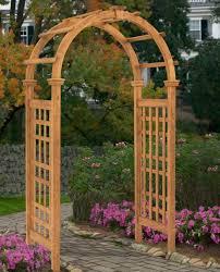 wood garden arbor entry archway pergola trellis wedding pathway decor lattice