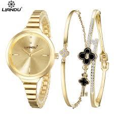watch and bracelet sets page 1 movado buy liandu brand luxury crystal gold watch women bracelet watch set ladies analog clock quartz wrist watch relojes mujer