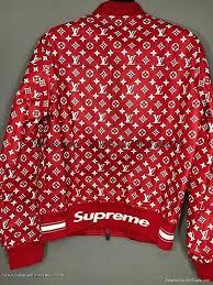 louis vuitton er jacket x supreme red leather monogram box logo