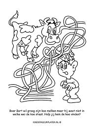 Kleurplaat Doolhof Koe Boerin Spelletjes