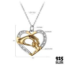 925 sterling silver mom loves baby hand in heart cz diamond pendant necklace