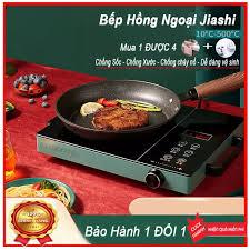 Bếp hồng ngoại JIASHI 2 vòng nhiệt - Bếp điện từ mặt siêu bền chế độ phím  bấm điện tử và nút xoay chỉnh nhiệt - 6 chế độ sử dụng-Nhiệt độ